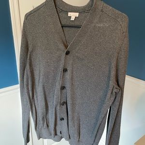 GAP Men's Cardigan Sweater, L, Medium Gray